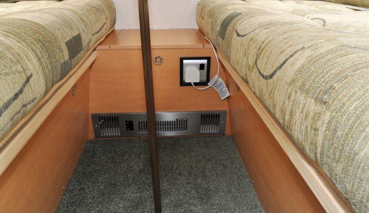 Electric heater blows through dinette area in the Gobur Carousel Slimline 10/2 folding caravan