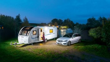 Our Adria Adora Seine pitched up at Sumners Ponds Campsite in West Sussex