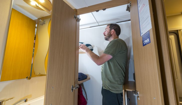 The walk in wardrobe in the washroom of the Compass Corona 462 is enormous