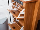 The Dethleffs Nomad 560 SB gets top marks for storage options, which include this shoe rack