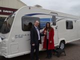 Patrick Willoughby, Retailer Principal at Lee Davey, gave Practical Caravan reader Shelley Kettle the keys to her prize winning Bailey Pegasus GT65 Rimini