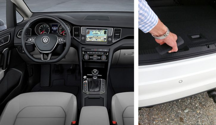 Build quality in the cabin is high, there's good visibility from the VW Golf SV's driver's seat and you can get a very neat, retractable, factory fitted towball