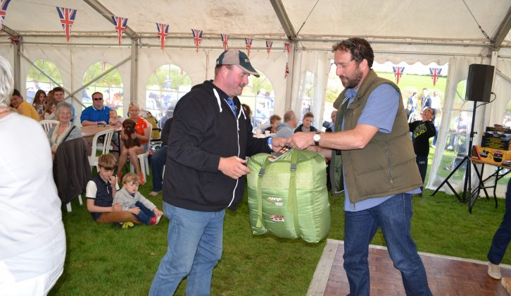 This double sleeping bag was presented to the raffle ticket holder by Rob Ganley of Practical Caravan magazine