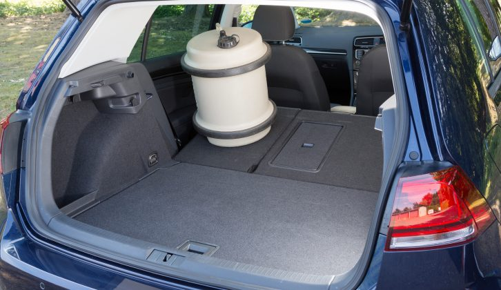 Fold the VW Golf's rear seats to get 1270 litres of boot space, note Practical Caravan's experts