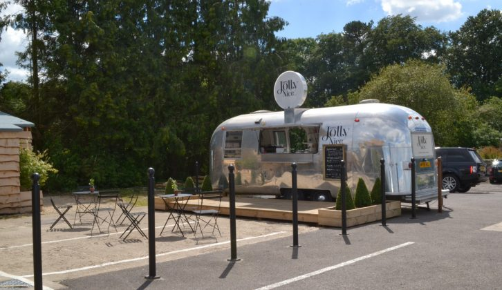 Bryony and Jennie liked the Airstream cafe at Jolly Nice farmshop, just a few minutes by car from the campsite, but they loved the ice cream more!