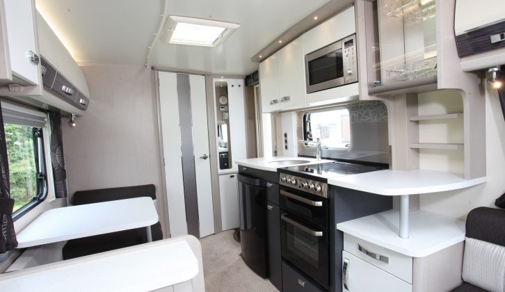 There are now matt-black kitchen doors in the Continental range of Swift caravans, as well as leather-effect vinyl upper lockers with piano-black wood inserts