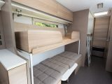 The side dinette converts very easily into bunks, the bottom 1.96m long, the upper 1.87m, as the Practical Caravan review team discovered