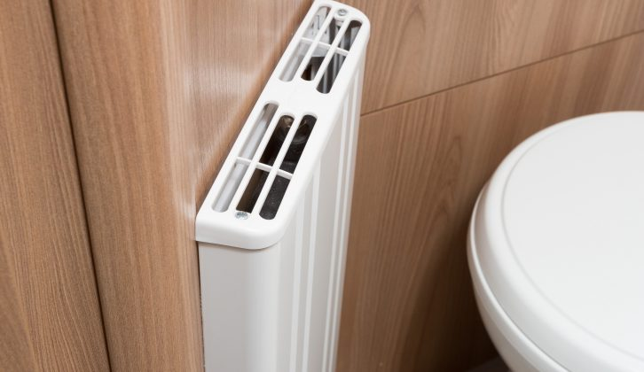 There is now a radiator in the washroom of the new Bailey Unicorn Cadiz, reviewed by the expert team at Practical Caravan