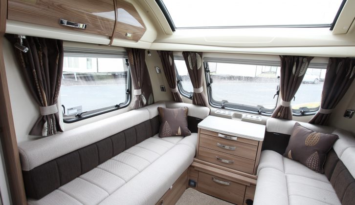 The fixed sunroof in the Swift Elegance 565's lounge ensures it is bright and airy at all times, the trim smart, too