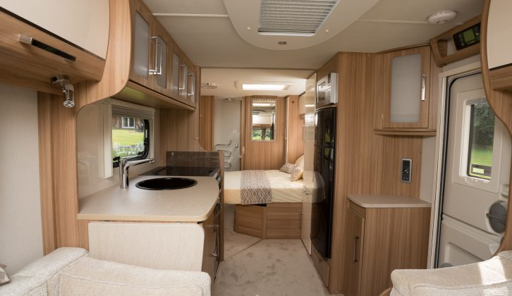 Contemporary finishes, a huge fridge/freezer and Alde central heating all contribute to an upmarket look and feel for the 2015 Lunar Delta TI, according to the Practical Caravan review team