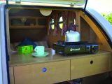 Lift the Standard Pod's tailgate to access the kitchenette at the rear, which comes with a compact camping stove, as the Practical Caravan review team discovered