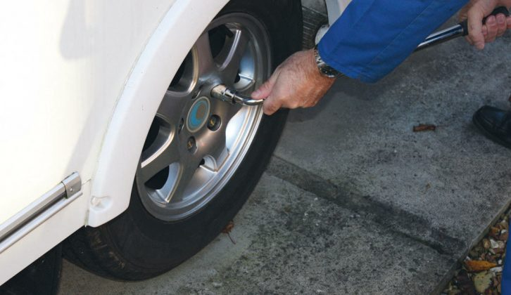 Loosen the wheel bolts before jacking the caravan up — it's almost impossible to work on the caravan brakes otherwise