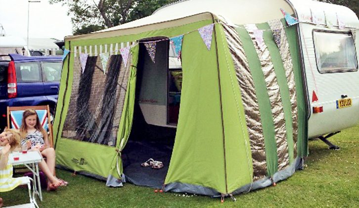 Now with an eBay-sourced original awning, the family have even more space when they enjoy holidays in Lottie Lace