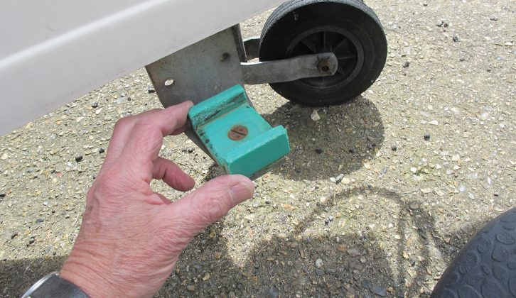 Many caravans of the 80s have small fittings such as this, which formed part of blade-type stabilisers; most modern caravans have hitch stabilisers instead