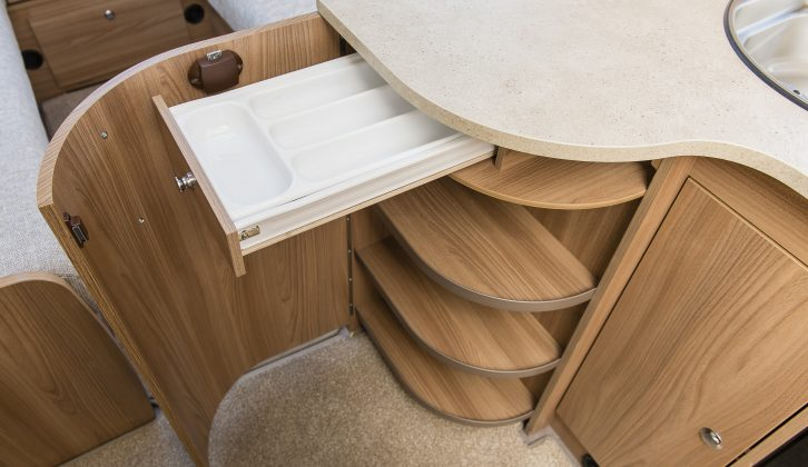 There's a clever cutlery drawer – read more in the Practical Caravan Bailey Pegasus Brindisi review