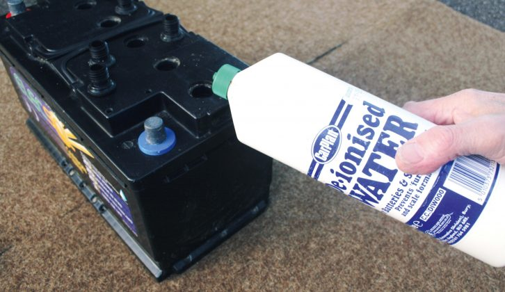 If acid drops below the top of the lead plates, add de-ionised water to replenish cells that need it