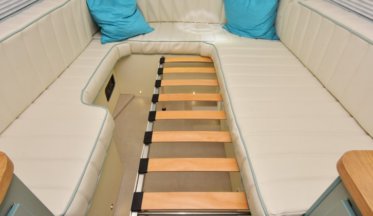 The 6ft x 6ft double bed is easy to make up and the flat cushions should ensure a good night's sleep