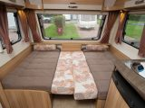 The Bailey Pursuit 430-4's lounge converts into a 2.04m x 1.27m double, or kids can use the sofas as single beds