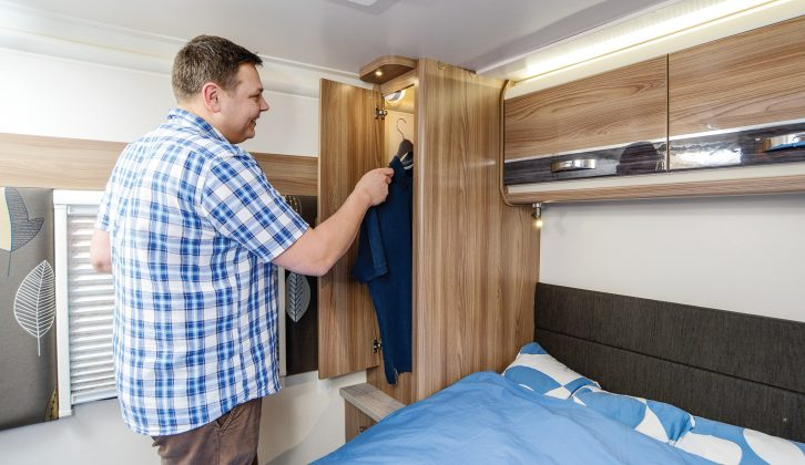 Each wardrobe has an automatic light in the Swift Conqueror 560