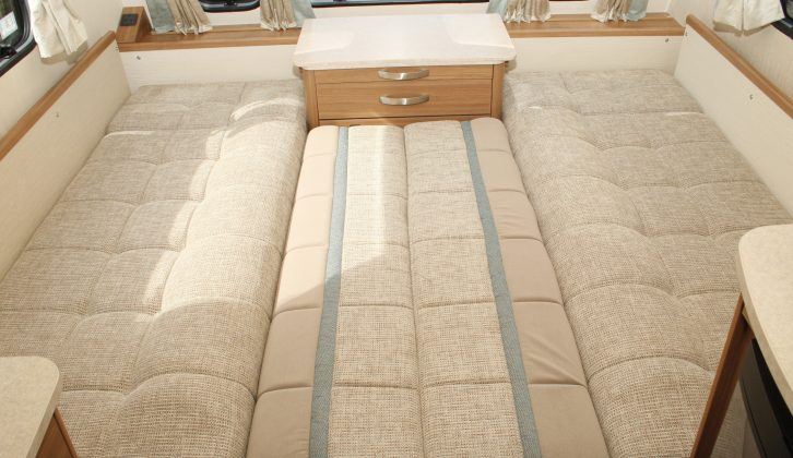 The sofas make a double bed 6ft 6in long and 4ft 8in wide – or 5ft 10in wide if you opt for wraparound front seating