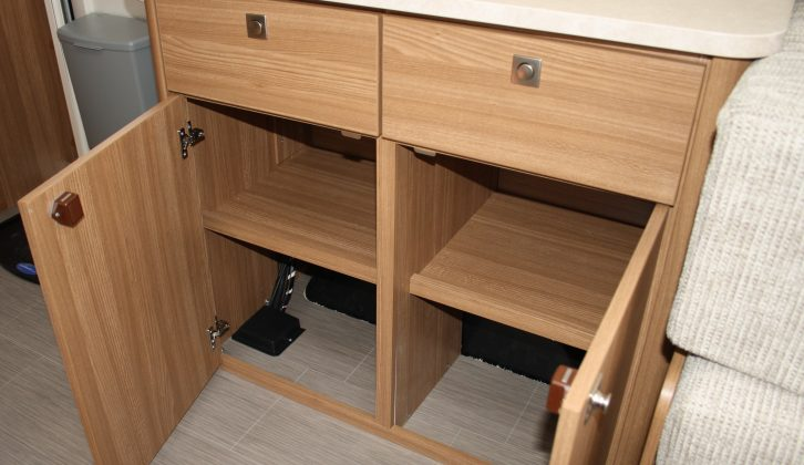 The handy 'Montalcino Elm' kitchen cabinet has dovetail drawers