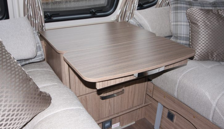 There's some useful extra space for cups of tea and coffee in the Coachman VIP 565's lounge