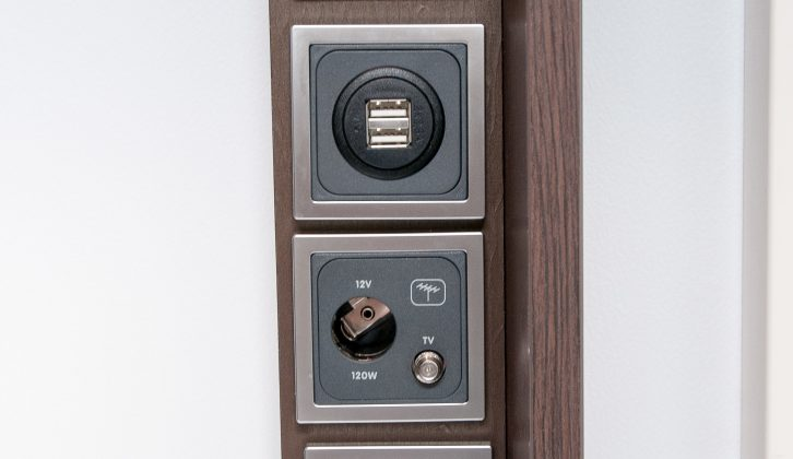 As well as a TV point, you get two USB ports and a 230V socket next to the door