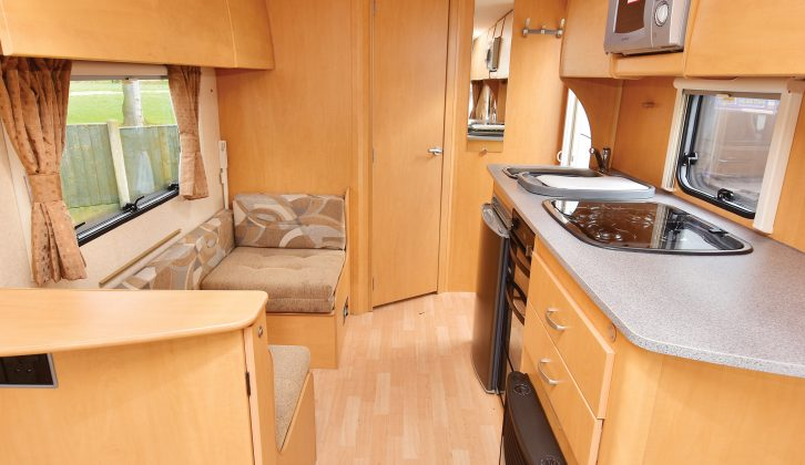 The Bailey Ranger's kitchen worktop is plentiful, extending over the heater, plus the sink and hob have covers