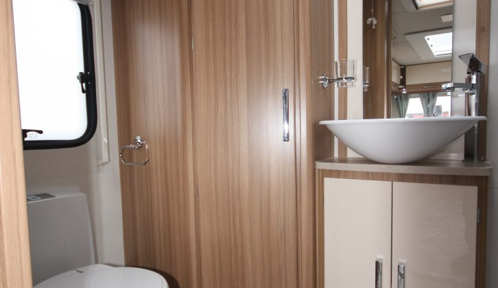 Alde heating helps keep the end washroom cosy in this Lunar caravan