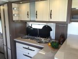 The L-shaped kitchen in the Hobby Prestige 660 WFC is bigger than you might expect from a Continental manufacturer