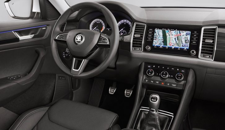 Available in five- and seven-seat versions, the Škoda Kodiaq's second row of seats can slide back and forward