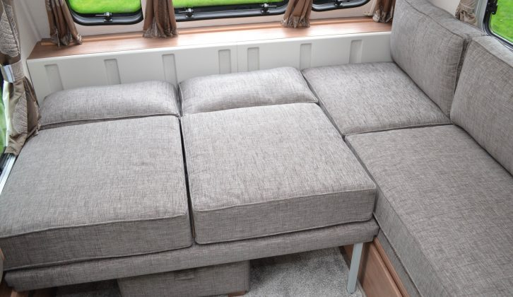 The front make-up double bed involves using six cushions, but it's comfortable with the mattress topper