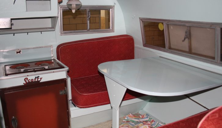 The interior of the tiny 1966 Serro Scotty Sportsman is beautifully preserved