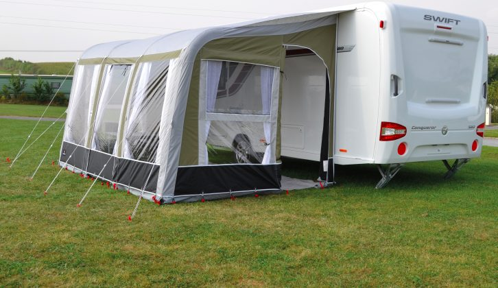 The Ventura Pascal 390 weighs 31.2kg and you can order IXL glassfibre rear legs to keep the awning against the caravan (£25 each)