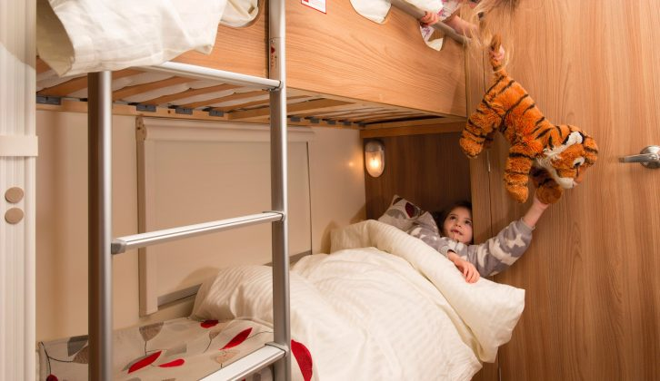The fixed bunk beds in this Bailey Pegasus Ancona are well-placed and measure 1.78m x 0.60m