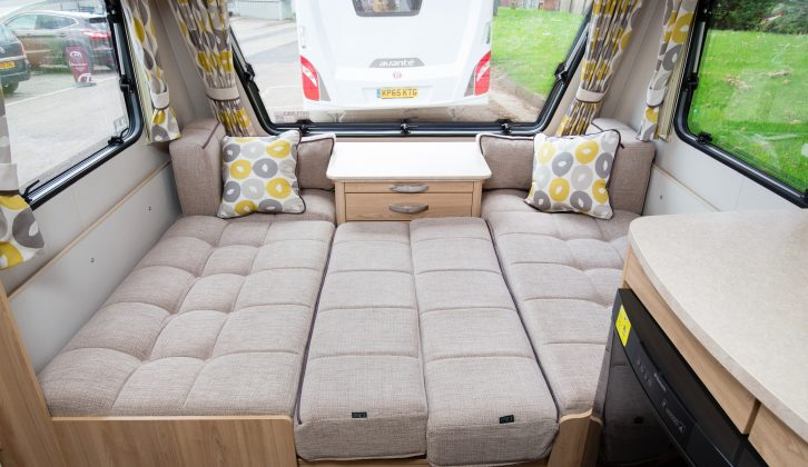The front make-up double bed measures 1.99m x 1.10m