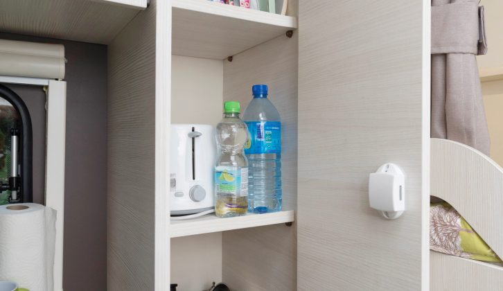 The floor-to-ceiling cupboard next to the kitchen is great for storing more than just food – read more in the Practical Caravan Caravelair Antarès 476 review