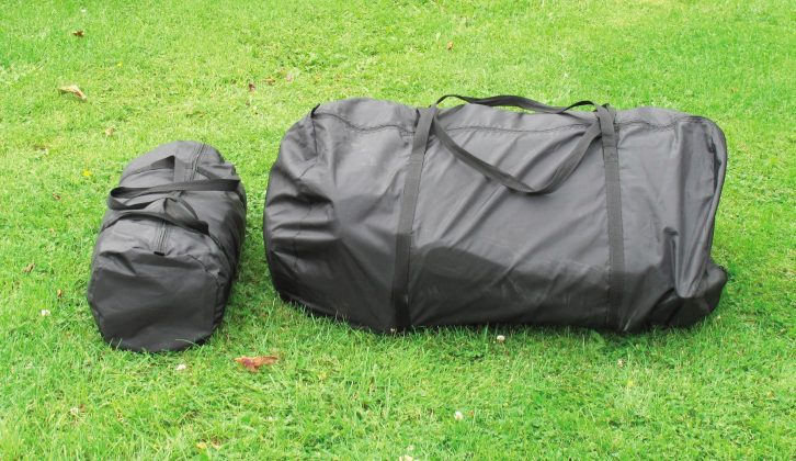 This sizeable awning packs up into a pair of easy-to-handle carriers