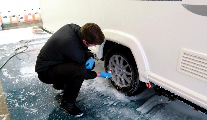 Don't forget your caravan's alloy wheels – use a brush on hard-to-reach places