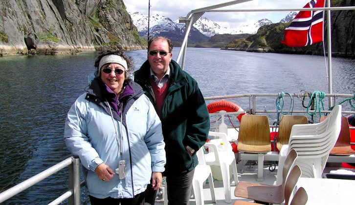 Anne and Jack on deck during a boat trip on a fjord in Norway