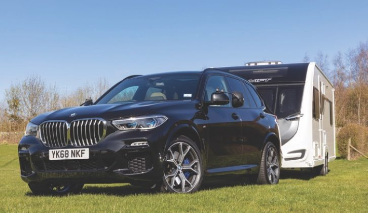 The BMW X5's pulling power makes for effortless towing, even with a large, heavy caravan