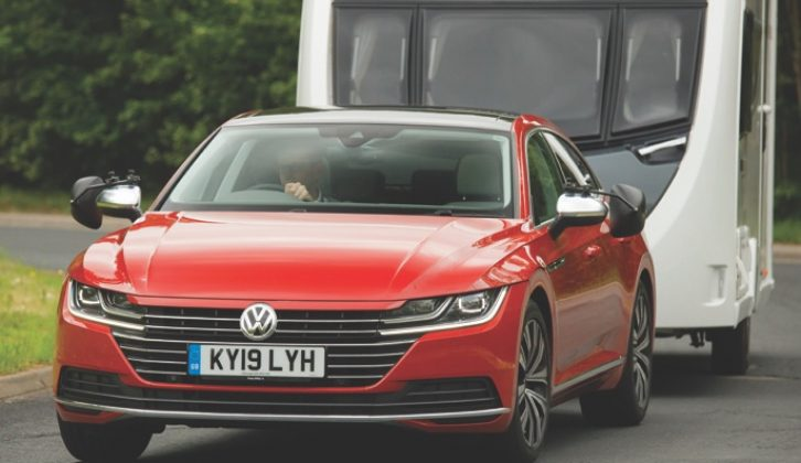 On country roads and motorways, the Arteon is a very stable tow car, remaining firmly in charge of the caravan at all times