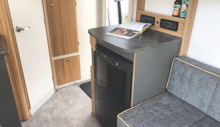 The dresser houses the 103-litre fridge