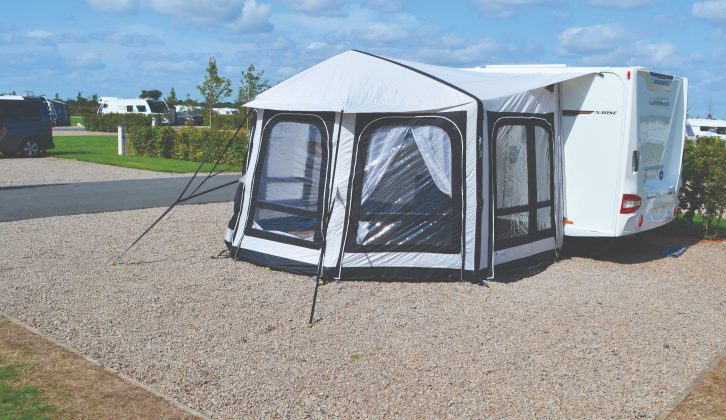 Many still prefer the shape of conventional poled awnings