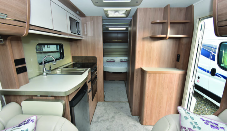 Camino 550 is spacious and has plenty of LED downlighters, while side shelves add more storage