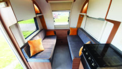 Bailey D4-4's contemporary styling and colour scheme gives the front lounge a spacious ambience